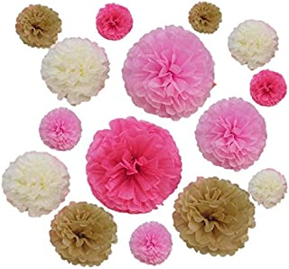 18 Pcs Pink Ivory And Beige Tissue Paper Flower Pom Pom Balls.8 10 And 14 Inch Party Favor Flower Balls Hanging Decor Party Decoration.Great DIY Kit For Parties,Birthdays,Weddings,Bridal Showers Etc.