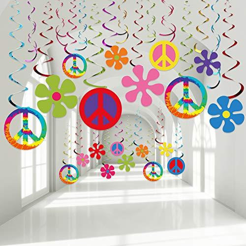 Decoraciones de Remolino de Papel de Aluminio de Fiesta Temática Hippie de Años 60, Remolinos de Flores Retro de Fiesta Groovy Remolinos Colgantes de Signo de Paz Serpentinas de Techo, 30 Unidades
