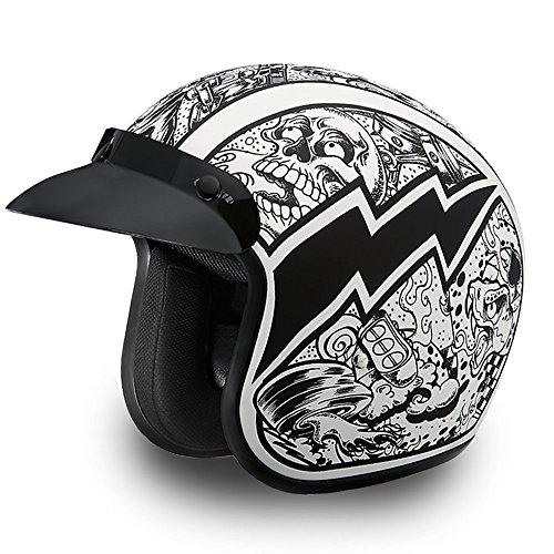 Daytona Cascos de motocicleta de cara abierta casco crucero - Graffiti 100% aprobado por DOT