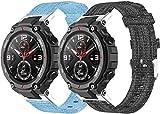 Chainfo Compatible con Amazfit T-Rex Correa de Reloj, Pulsera Deportivo de Reloj de Nylon, con Cierre de Clip, Respirable y Reemplazable (Pattern 1+Pattern 2)