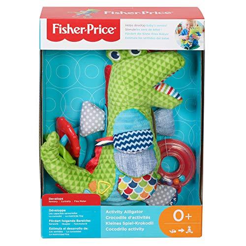 Fisher-Price- Coccodrillo Baby attività, con Superfici da Esplorare, Sonaglino e Gancio per Il Passeggino, Giocattolo per Neonati 0 + Anni, FDC57