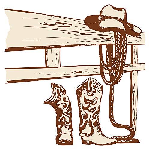 Wandtattoo USA Wandsticker Cowboy Wandbild mit Stiefeln und Lasso Amerika Wandt