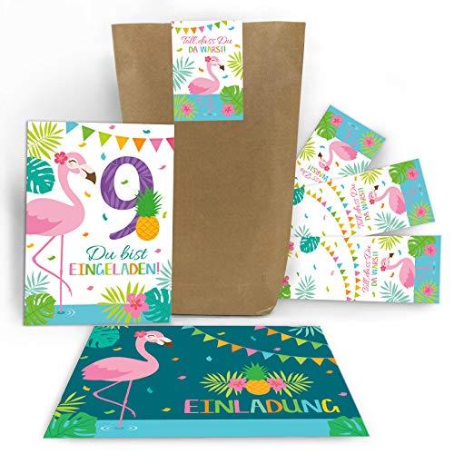 Junaversum 12 Einladungskarten zum 9. Geburtstag Kinder neunte Kindergeburtstag Mädchen Flamingo incl. 12 Umschläge, 12 Tüten. 12 Aufkleber