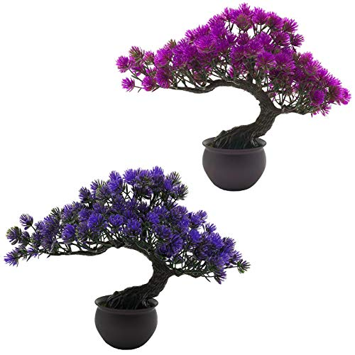 Rozwkeo 2 Pack Small Artificial Bonsai Tree Fake Plant Potted House Plants Japanese Pine Bonsai Plant Faux Bonsai for Home Indoor Decoration Office Windowsill Yard Desktop Display Trees Zen Decor