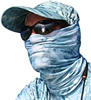 Aqua Design Fishing Hunting Masks Neck Gaiters for Men and Youth: UPF 50+ Sun Mask Protection: Camo Half Face Cover Balaclava Bandana: Aqua Sky: Size Medium