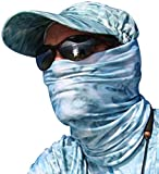 Aqua Design Fishing Hunting Masks Neck Gaiters for Men and Youth: UPF 50+ Sun Mask Protection: Camo Half Face Cover Balaclava Bandana: Aqua Sky: Size Small