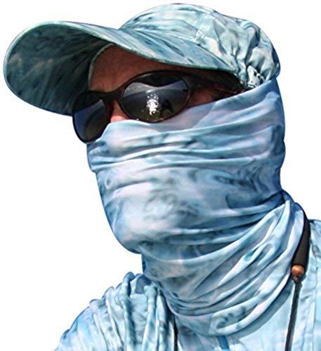 Aqua Design Fishing Hunting Masks Neck Gaiters for Men and Youth: UPF 50+ Sun Mask Protection: Camo Half Face Cover Balaclava Bandana: Aqua Sky: Size XL