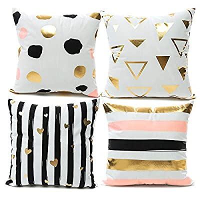 YNester Home Décor Throw Pillow Cover Super Soft Gold Foil Decorative Cushion Cover 18 x 18 inches Eyelashes Lips Love Printed Pillow Case for Sofa Chair Car Bed