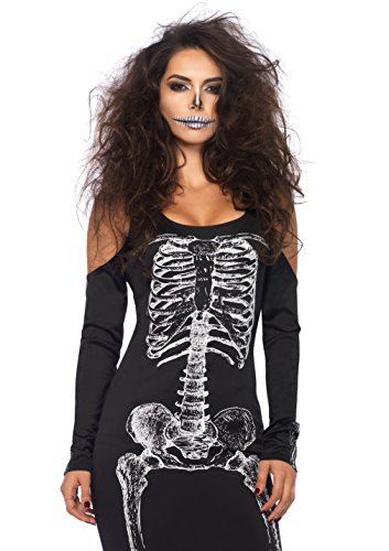 LEG AVENUE 85565 - koude schouder jurk met zijsplits met skelet print, dames carnaval Maat: M/L (EUR 40-42) Größe: M/L (EUR 40-42) zwart/wit