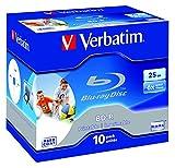 VERBATIM BD-R Single Layer Blu-ray Rohlinge I 25 GB I Blu-ray-Disc mit 6-facher Schreibgeschwindigkeit I 10er-Pack I großflächig bedruckbar I Blu-ray-Disks für Video- und Audiodateien