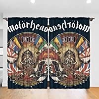 実用的 Motorhead カーテン 遮光 断熱 可愛おしゃれ インテリア 寝室 リビング 子供部屋 外から見えにくい カーテン( 幅132cm*丈183cm 2枚入)