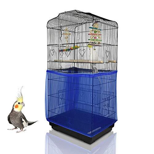 ASOCEA Jaula para pájaros extra grande Atrapa semillas para semillas Falda protectora Jaula para pájaros Red de malla de nailon Loro Periquito Agapornis Jaula -Azul (No incluye jaula para pájaros)