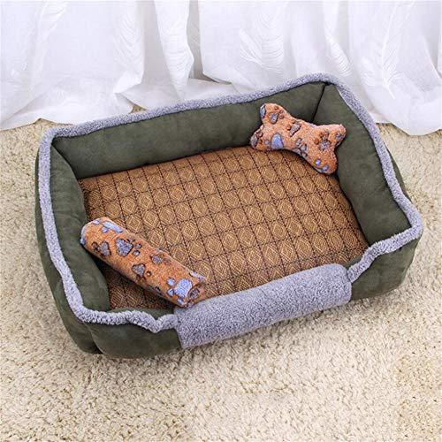 LINZXU-hondenbed wasbaar hondenmand met omkeerzacht 4-delige set botspeelgoed deken rotan mat huisdierbedkussen