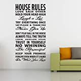Reglas de la casa Calcomanía de pared Texto Vinilo Pegatina