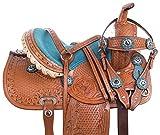 Acerugs 10 12 13 14' Youth Size Western Show Barrel Racing Children Kids Pony Horse Saddle TACK Set Premium Leather (Blue, 14)