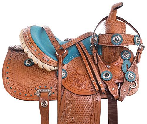 "Acerugs 10"" 12"" 13"" 14' Youth Size Western Show Barrel Racing Children Kids Pony Horse Saddle TACK Set Premium Leather (Blue, 10)"