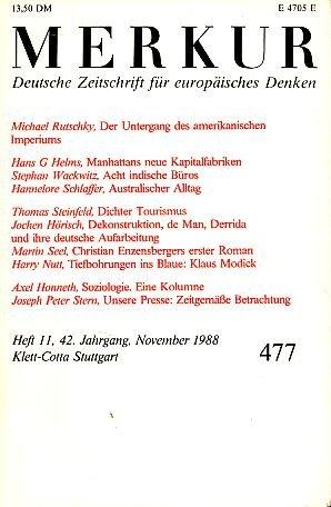 Merkur - Deutsche Zeitschrift für europäisches Denken - Heft 5 / 1988 - 42. Jahrgang