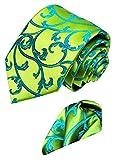 LORENZO CANA - Marken 2 er Set aus 100% Seide - Floral gemusterte Krawatte mit Einstecktuch - Grün Türkis - 8452101
