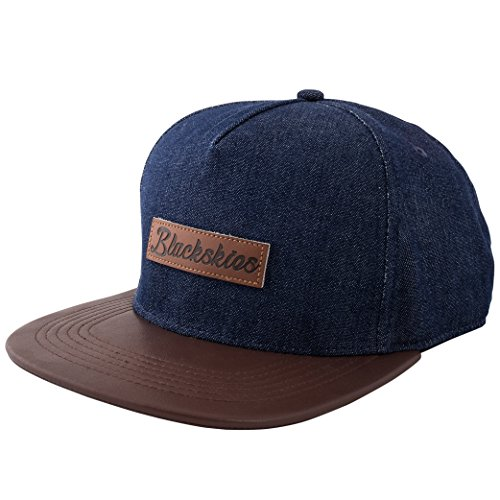 Blackskies Aion Snapback Cap Denim Jeans Kunst-Leder Schirm Unisex Premium Baseball Mütze Kappe