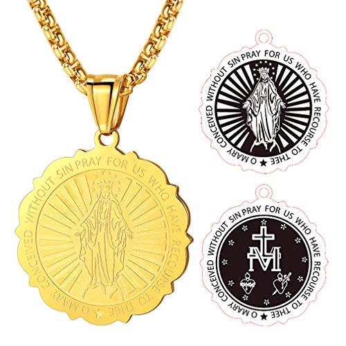 FaithHeart Chapado en Oro Amarillo Joyas Medallón Redondo Encaje Virgen María Acero Inoxidable Cadena 20 Pulgadas Hombre Mujer