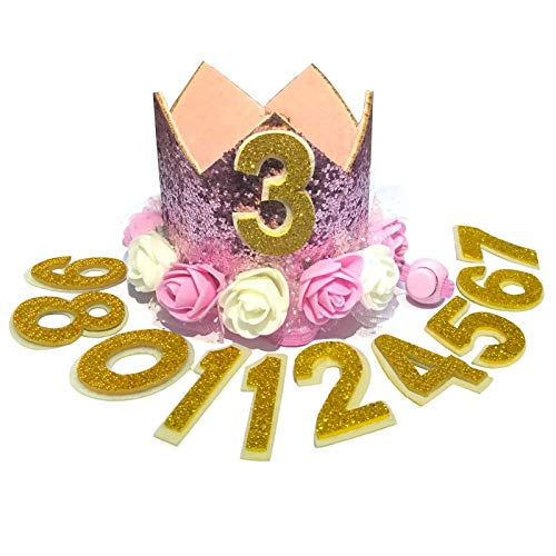 POSAPET Crown Dog Birthday Hat Reusable Doggie Birthday Party Hat for Pets Glitter Crown Hats for Dogs Cats Kitten Headband Hats Pink