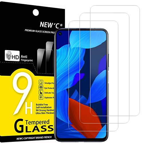 NEW'C 3 Unidades, Protector de Pantalla para Huawei Nova 5T, Antiarañazos, Antihuellas, Sin Burbujas, Dureza 9H, 0.33 mm Ultra Transparente, Vidrio Templado Ultra Resistente