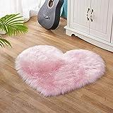 Lanqinglv Alfombra de piel de cordero sintética, pelo largo, suave, universal, para salón, dormitorio, habitación de niñas, imitación de lana, color rosa claro, 50 x 70 cm
