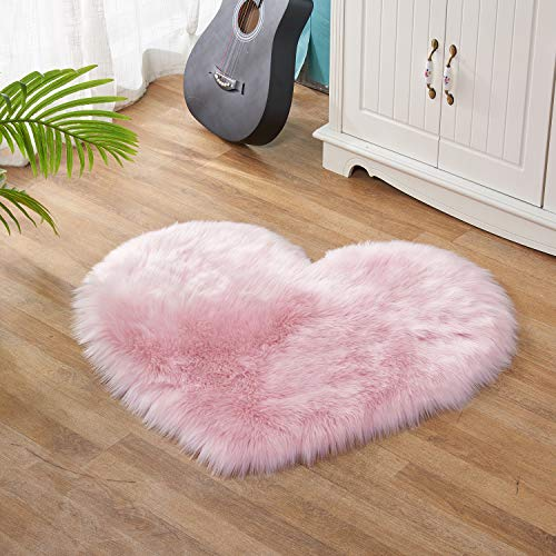 Lanqinglv - Alfombra de pelo de cordero sintético de pelo largo y suave, alfombra de piel de oveja universal para salón, dormitorio, habitación de niña, imitación de lana (rosa claro, 50 x 70 cm)