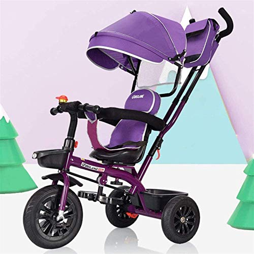 Neues Baby-Push-Trike, multifunktionales 4-in-1-Kinderpedal-Dreirad, Kinderwagen mit Markise und abnehmbarem Push-Griff, selbstfahrender Kinderwagen mit drehbarem Sitz, geeignet für Babys von 6 Monate