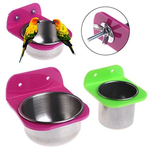 ECMQS roestvrijstalen levensmiddelen drinkbekken vogelhuisjes voor kratten kooien Coop hond Parrot Pet (S)