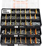 HongWay 1,650 Piece Deluxe Hardware Fastener Assortment Kit with 64 Size in Detachable'No Mix' Case, Bolt, Nuts & Washer Assortment and Metal & Wood Screw Assortment