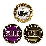 HEN'GMF 3PCS Casino Poker Metal Texas Poker Chips Black Jack Coins Set Metal Poker Distribuidor + PEQUEÑO Blind + Big Blind Botón Accesorios.