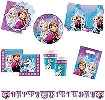 Procos 10110970 – party set Disney Frozen norrsken XL, 51 delar, 8 tallrikar, 8 koppar, 20 servetter, 1 bordsduk, 6...