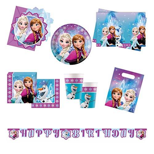 Procos 10110970 - Partyset Disney Frozen Northern Lights XL, 51-teilig, 8 Teller, 8 Becher, 20 Servietten, 1 Tischdecke, 6 Einladungen, 6 Partytüten, 2 Girlanden, Anna, Elsa