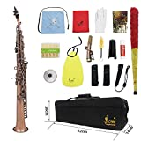 PKA LADE WSS-899 Professionelle rote Bronze gerade Bb Sopransaxophon Saxophon Holzflügel Instrument Abalone Shell Key Carve Pattern mit Etui Handschuhen