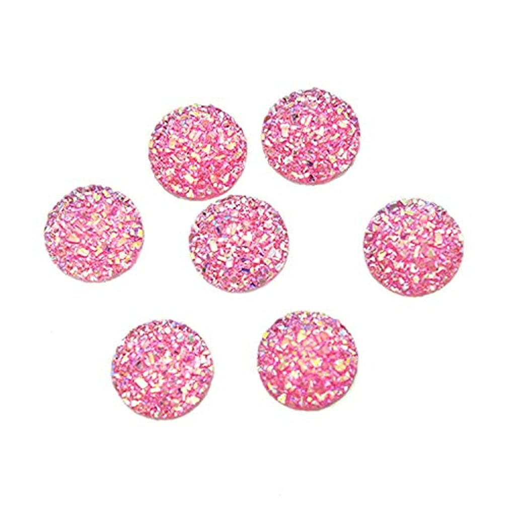 Monrocco 100Pcs 12mm Round Resin Cabochons Iridescent Faux Druzy Cabochons, Flat Back Resin Cabochon Mermaid Deco Jewelry Making