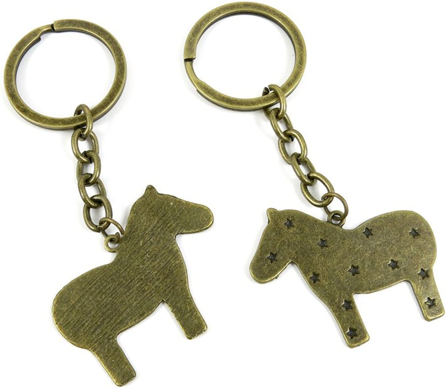 130 Pieces Fashion Jewelry Keyring Keychain Door Car Key Tag Ring Chain Supplier Supply Wholesale Bulk Lots W4LX1 Star Pony Horse