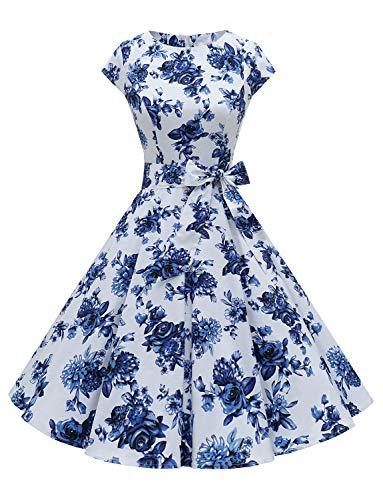 Dressystar Vintage 1950 Polka Dot en Effen kleur Prom Jurken Cap-Sleeve
