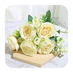 PrettyR Beautiful Rose Peony Artificial Silk Flowers Small White Bouquet Home Party Winter Wedding Decoration Fake Flowers-Milk
