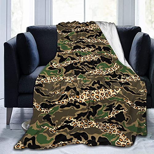 Manta de Felpa Suave Cama Mezcla de Camuflaje Piel de Leopardo Manta Gruesa y Esponjosa Microfibra, Suave, Caliente, Transpirable para Hogar Sofá , Oficina, Viaje