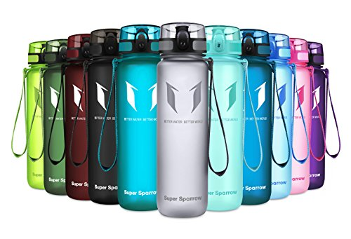 Super Sparrow Sports Water Bottle - 17oz - Eco Friendly & BPA-Free Plastic - Fast Water Flow, Flip Top, Opens with 1-Click - Reusable with Leak-Proof Lid