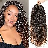 Goddess Faux Locs Crochet Hair - Pre Looped Goddess Locs Crochet Hair For Black Women, Soft Curly Faux Locs Crochet Braids, Boho Style, Synthetic Braiding Hair Extensions(20inch, 6packs, 1B/30)