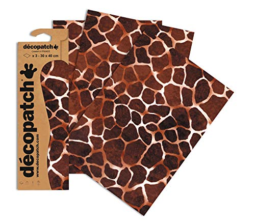 Decopatch Papier No. 209 (braun Giraffe, 395 x 298 mm) 3er Pack