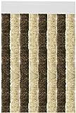 Flauschvorhang individuell kürzbar Auswahl: Unistreifen beige - braun 90 x