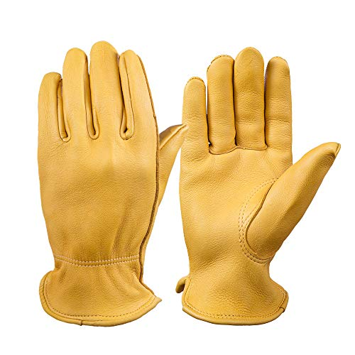 OZERO Motorcycle Gloves, Grain Deerskin Leather Driving Gloves for Rubbing Jewelry/Shooting/Hunting/Gardening/Yard Work/Farm - Extremely Soft and Perfect Fit for Men & Women (Gold,M)
