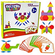 Wooden Pattern Blocks by WhizBuilders : Shape Puzzle Tangram , Montessori Homeschool Kindergarten STEM Toys , Learning Educational Autism Games Activities for Kids Toddlers Girls Boys , 155 Pcs