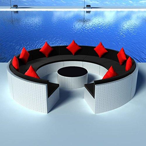 Lingjiushopping Ensemble canapés de Jardin 37 pièces en polyrotin modulaire Blanc Matériau : polyrotin + châssis en Acier à revêtement Poudre Ensemble de Meubles d'extérieur