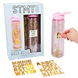 STMT DIY Monogram Water Bottle By Horizon Group Usa, Bpa Free. Includes Trendy Gold Foil Alphabet Stickers To Personalize with Your Name, built in Straw & Glitter Between Double Wall Design. Pink&Gold