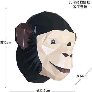 Estatua Sculpture Cabeza De Animal De Origami Creativo para Colgar En La Pared El Mono La Estatua Unión Figurine Resin Ilustraciones para El Salón Mesa Accesorios De Navidad Adorno