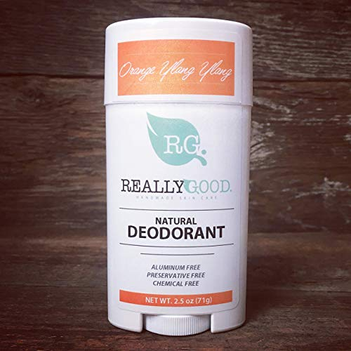 Really Good Skin Care All Natural, Aluminum Free Deodorant, 2.5 oz - Orange Ylang Ylang Scent - Certified Cruelty Free and Vegan - Preservative Free, Chemical Free Odor Protection